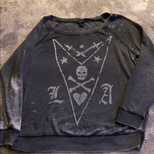Torrid distressed skull sweatshirt
